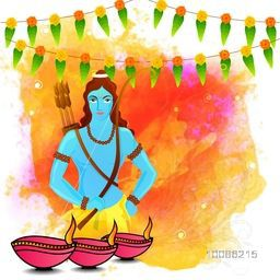 Traditional Indian Festival background with illustration of Lord Rama and illuminated oil lamps on colorful splash, Creative vector illustration usable for Happy Dussehra and Diwali Festivals celebration.