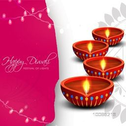 Beautiful Greeting Card design decorated with creative Oil Lamps (Diya), illuminated lights and floral decoration for Indian Festival, Happy Diwali celebration.