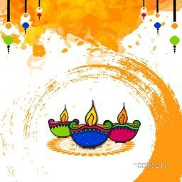 Elegant Greeting Card design with colorful oil lamps (Diya) on abstract background for Indian Festival of Lights, Happy Diwali celebration.