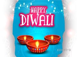 Elegant greeting card design decorated with illuminated oil lamps (Diya) on fireworks background for Indian Festival of Lights, Happy Diwali celebration.