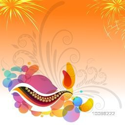 Abstract festive background with creative oil lamp, floral design and firework explosion, Elegant Greeting Card for Indian Festival of Lights, Happy Diwali celebration.