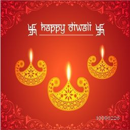 Golden illuminated Oil Lamps (Diya) on floral design decorated red background, Elegant Greeting Card for Indian Festival of Lights, Happy Diwali celebration.