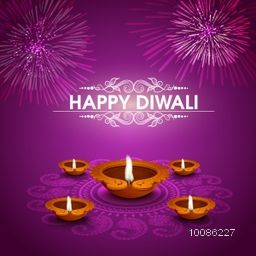 Elegant Greeting Card design decorated with illuminated Oil Lamps (Diya) on floral rangoli, Creative festive background with firework explosion for Indian Festival of Lights, Happy Diwali celebration.