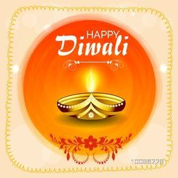 Creative glowing Oil Lamp (Diya) on abstract background, Elegant Greeting Card design for Indian Festival of Lights, Happy Diwali celebration.
