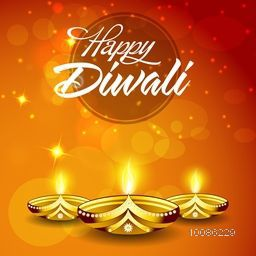 Elegant Greeting Card design decorated with glowing illuminated Oil Lamps (Diya) on shiny background for Indian Festival of Lights, Happy Diwali celebration.