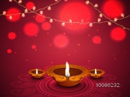 Glowing red background with illuminated Oil Lamps (Diya) on floral rangoli and lights decoration, Elegant Greeting Card design for Indian Festival, Happy Diwali celebration.