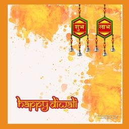 Elegant Greeting Card design with creative decoration elements on abstract background for Indian Festival of Lights, Happy Diwali celebration.