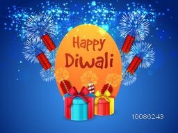 Sparkling blue background with exploded firecrackers (Rockets) and wrapped gift boxes, Creative Poster, Banner or Flyer design for Indian Festival of Lights, Happy Diwali celebration.