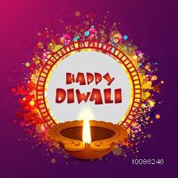 Elegant Greeting Card design with glossy illuminated Oil Lamp (Diya) on colorful abstract background for Indian Festival of Lights, Happy Diwali celebration.