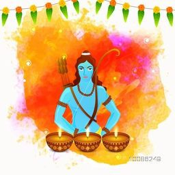 Hindu Mythological Lord Rama and illuminated Oil Lamps (Diya) on colorful abstract background for Indian Festival, Happy Dussehra and Happy Diwali celebration.