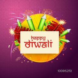 Indian Festival of Lights, Happy Diwali celebration with various firecrackers on seamless background.