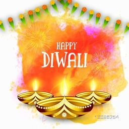 Golden illuminated Oil Lamps (Diya) on colorful abstract background, Elegant Greeting Card design for Indian Festival of Lights, Happy Diwali celebration.