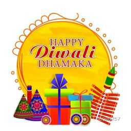 Happy Diwali Dhamaka Poster, Big Sale Banner, Special Discount Offer Flyer, Creative Sale background with colorful firecrackers and wrapped gift boxes.