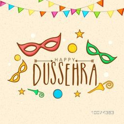 Creative poster, banner or flyer design with colourful masks and bunting decoration for Happy Dussehra celebration.