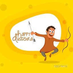 Cute boy holding bow and arrow enjoying and celebrating on occasion of Indian Festival, Happy Dussehra celebration.