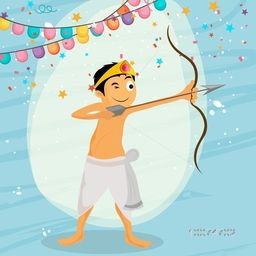 Cute little boy taking aim with bow and arrow on stylish background for Indian Festival, Happy Dussehra celebration.