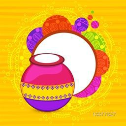 South Indian Harvesting Festival, Happy Pongal celebration with colorful traditional mud pot and space for your wishes.