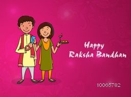 Happy brother and sister enjoying after celebrating Raksha Bandhan festival on floral design decorated pink background.