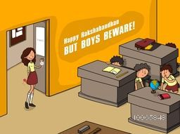 Illustration of cute girl holding rakhi for tying but all boys beware and hide behind desk in the class.
