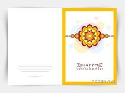 Elegant greeting card design decorated with beautiful rakhi on colorful shiny background for Indian festival, Happy Raksha Bandhan celebration.