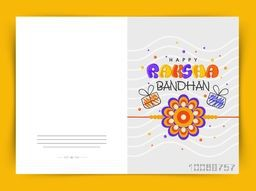 Stylish greeting card design decorated with colorful rakhi and gifts for Indian festival, Happy Raksha Bandhan celebration.
