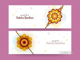 Website header or banner set decorated with beautiful rakhi for Indian festival, Raksha Bandhan celebration.