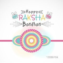 Elegant greeting card design decorated with colorful rakhi on shiny background for Indian festival, Raksha Bandhan celebration.