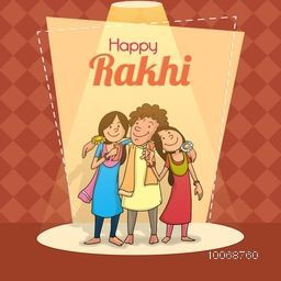 Happy brother and sister hugging each other while celebrating rakhi festival in spotlight, Greeting card design for Raksha Bandhan celebration.