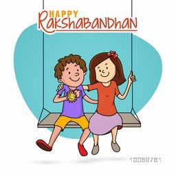 Cute little brother and sister enjoying and swinging after celebrating Raksha Bandhan festival on blue and white background.