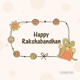 Elegant greeting card design decorated with flowers and gift for Indian festival, Raksha Bandhan celebration.