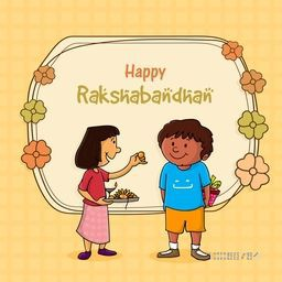 Cute little sister offering sweet to her brother and preparing for Indian festival, Happy Raksha Bandhan celebration.
