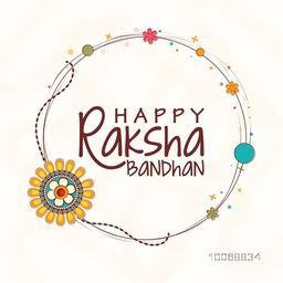 Creative rounded frame decorated with beautiful rakhi on shiny background for Indian festival, Raksha Bandhan celebration.