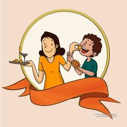 Stylish sticky design with illustration of cute little sister feeding sweet to her brother, and blank orange ribbon for Indian festival, Raksha Bandhan celebration.