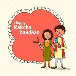 Cute brother and sister with stylish frame for Indian festival, Raksha Bandhan celebration.