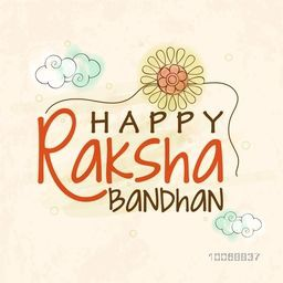 Elegant greeting card design decorated with stylish rakhi on grungy background for Indian festival, Raksha Bandhan celebration.