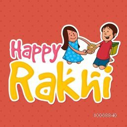 Creative sticky design with illustration of cute little sister tying rakhi to her brother's wrist for Indian festival, Raksha Bandhan celebration.