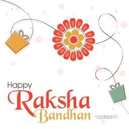 Elegant greeting card design decorated with beautiful rakhi and gifts on shiny background for Indian festival, Raksha Bandhan celebration.
