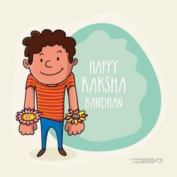 Cute little brother showing all his rakhi for Indian festival of brother and sister love, Happy Raksha Bandhan celebration.