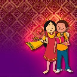 Cute brother and sister enjoying and celebrating the festival of love, Happy Raksha Bandhan on floral design decorated shiny background.