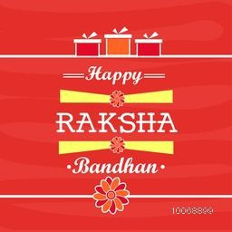 Elegant greeting card design for Indian festival of brother and sister love, Happy Raksha Bandhan celebration.