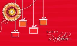 Elegant greeting card design decorated with beautiful floral rakhi and hanging gifts for Indian festival of brother and sister love, Happy Raksha Bandhan celebration.
