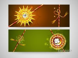 Beautiful shiny rakhi decorated website header or banner set for Indian festival, Happy Raksha Bandhan celebration.