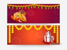 Beautiful website header or banner set with wrapped gifts, sweets and traditional flower decoration for Indian festival, Happy Raksha Bandhan celebration.
