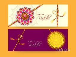 Beautiful floral rakhi decorated website header or banner set for Indian festival of brother and sister love, Happy Raksha Bandhan celebration.