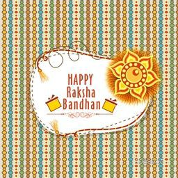 Elegant decorative greeting card design with beautiful rakhi for Indian festival of brother and sister love, Happy Raksha Bandhan celebration.