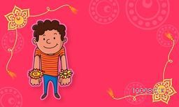 Cute little boy showing all his rakhi on floral design decorated pink background for Indian festival of brother and sister love, Happy Raksha Bandhan celebration.
