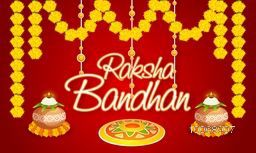 Elegant greeting card with traditional mud pot, oil lit lamps, floral rangoli and beautiful flowers for Indian festival of brother and sister love, Happy Raksha Bandhan celebration.
