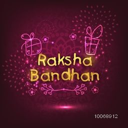Elegant greeting card with golden text Raksha Bandhan on floral design decorated shiny purple background for Indian festival of brother and sister love celebration.