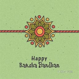 Beautiful rakhi design on grungy green background for Indian festival, Raksha Bandhan celebration.