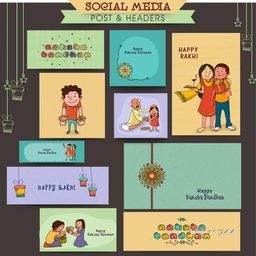 Stylish social media post, header or banner set with illustration of beautiful rakhi and cute brother and sister for Indian festival, Raksha Bandhan celebration.
